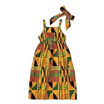 CM C&M WODRO Toddler Kids Girl Clothes Summer African Bohemian Print Short Sleeve Dress Boho Dashiki Style Sundress  Yellow-Sleeveless 4-5T  Size 110