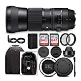 Sigma 150-600mm 5-6.3 Contemporary DG OS HSM Lens for Canon DSLR Cameras with Sigma USB Dock and Two 64GB SD Card Bundle (8 Items)