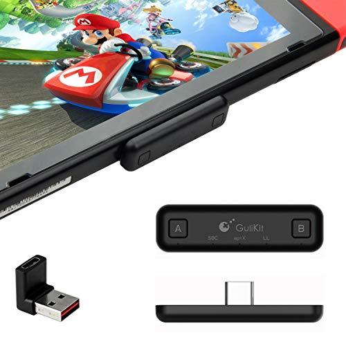 GULIkit Route Air+ Bluetooth Kopfhörer Adapter für Nintendo Switch, Switch Lite, PS4/ PS5, PC, Kompatibel mit Den Meisten Hüllen von Drittanbietern - Schwarz