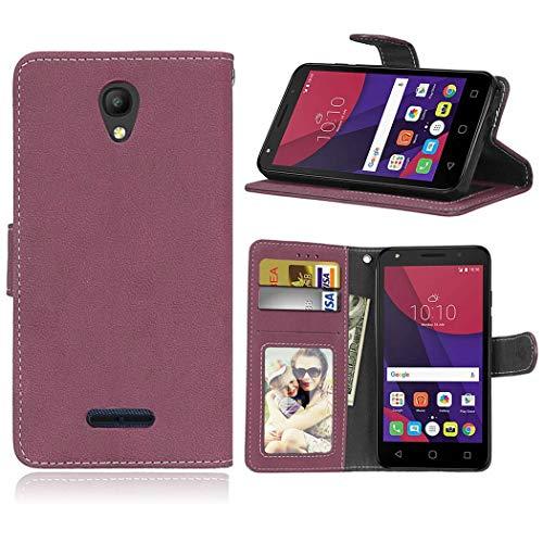 Ycloud Geldbörse Hülle für Alcatel One Touch Pop 4 (5.0'') Smartphone, Matt Textur PU Leder Magnetisch Flip Handyhülle mit Standfunktion Kartenfächer Entwurf (Rosenrot)