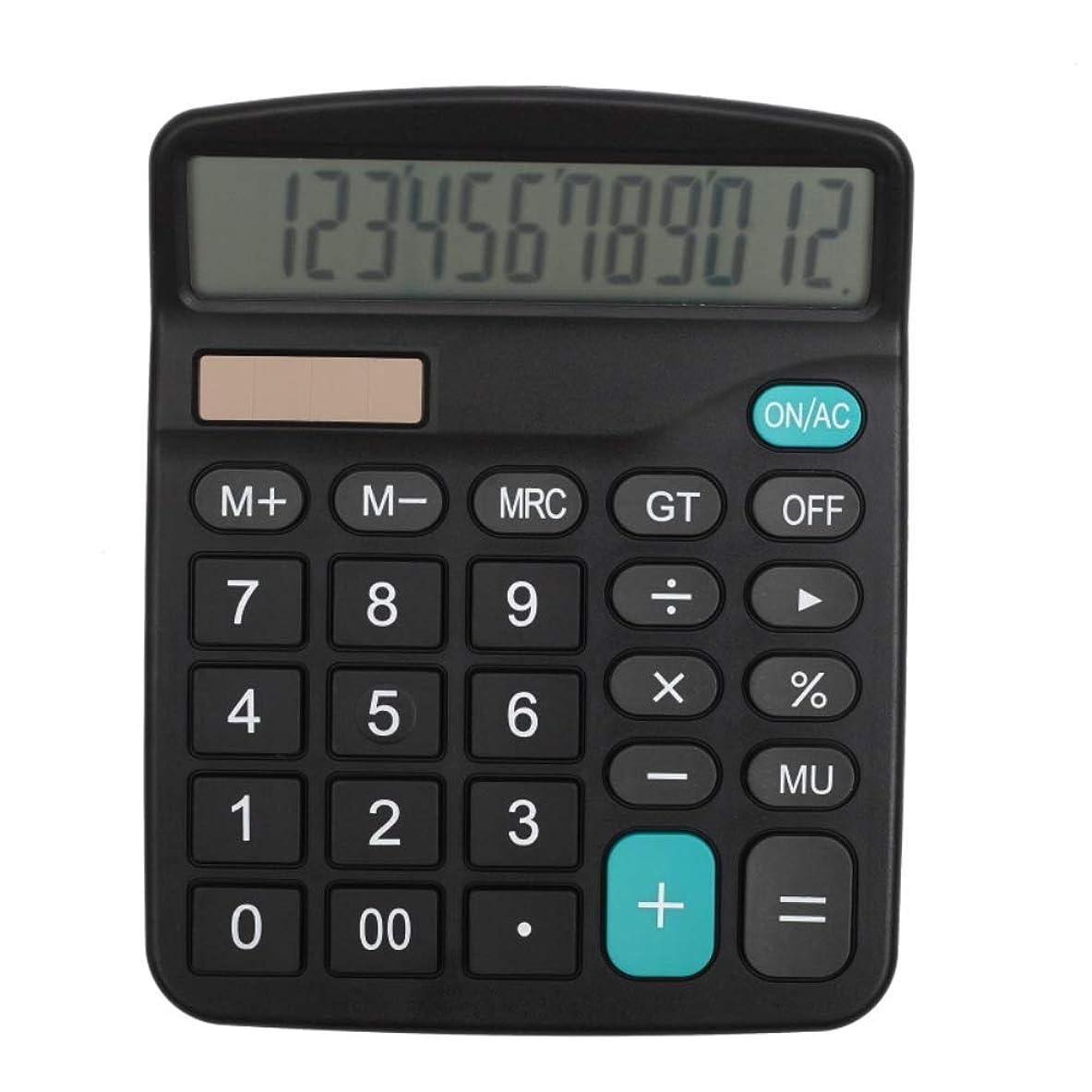 唯一セイはさておき化粧ハンドヘルドデスクトップ電卓 12桁 大型ディスプレイ オフィス用 ブラック