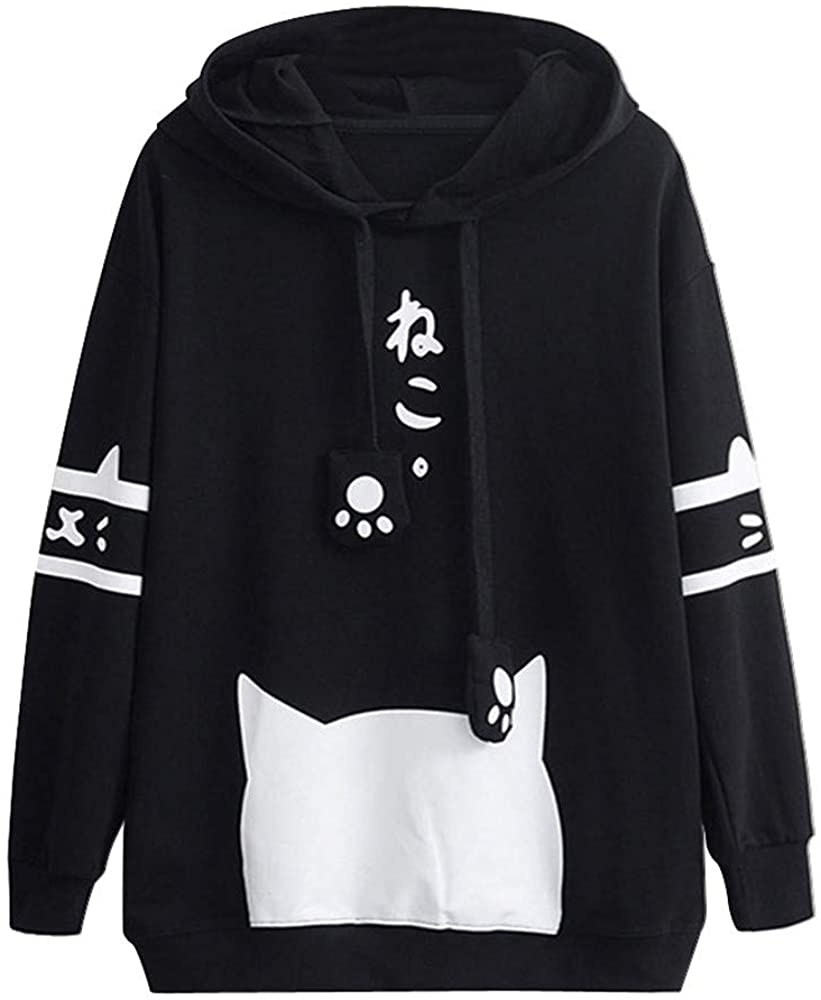 Aniwood Women Hooded Sweatshirts Women's Cute Cat Printed Long Sleeve Hoodies Casual Loose Pullover Tops with Pockets