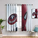 ZhiHdecor The Avengers Blackout Lined Curtains little spiderman with shield 54'x72'(140x 183cm) for Bedroom,Nursery,Living Room