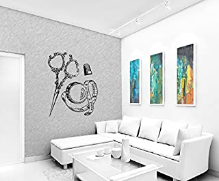 Wall Sticker Decals Art Mural Sewing Kit, Scissors, Thimble Meter Ye0747