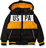 US Polo Association Boys' Big Bubble Vest Jacket with Fleece Sleeves, Black/Gold, 10/12