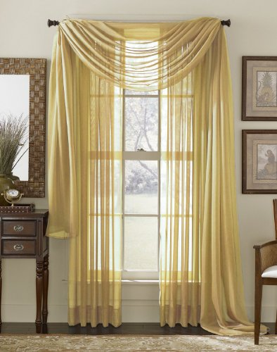 "SET OF 2, 84"" LONG YELLOW GOLD SHEER VOILE CURTAINS / TAILORED CURTAIN PANELS, 60"" WIDE"