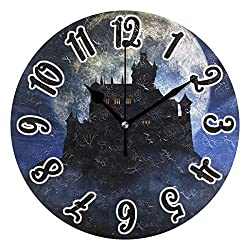 Promini Full Moon House Halloween Wooden Wall Clock 15Inch Silent Battery Operated Non Ticking Wall Clock Vintage Wall Decor for Kitchen, Living Room, Bedroom, School, or Office