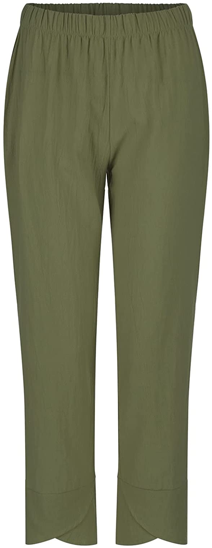 CHENKAI Women Pants Casual High Waist Solid Summer Cotton Loose Long Straight Pants