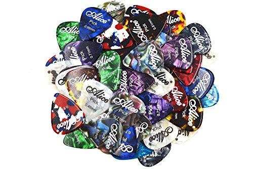Alice アリス AP-A 100枚 スムーズ セルロイド ギター ピック プレクトラム パック厚カラー混合