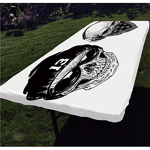 Skull Polyester Fitted Tablecloth,Funny Skull Band Dead Street Gangs with Bandanna Hood Rapper Style Grunge Print Decorative Rectangular Elastic Edge Fitted Table Cover,Fits Rectangular Tables 48x24