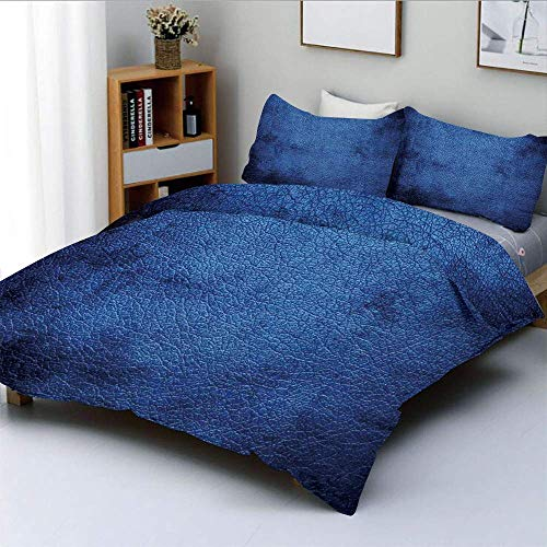 Bettbezug-Set, Martian Alien Skin Like Dark Blue Zeitgenössisches interessantes Design Art PrintDecorative 3-teiliges Bettwäscheset mit 2 Kissen Sham, Dunkelblau, Kinder & ADU