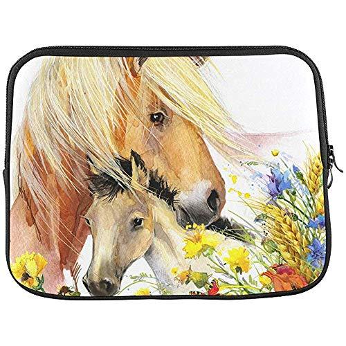 Paard en veulen met weide bloemen mouw zachte laptop tas tas tas