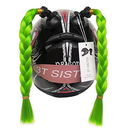 3T-SISTER Helm Pigtails Motorrad Helm Pferdeschwanz Zöpfe Helm Synthetisches Haar mit Saugnapf Dekoration 2 STÜCKE 14 Zoll Grün Farbe + 2 STÜCKE FreiKlebstoff