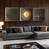 Impresión en lienzo Pintura abstracta de lienzo redondo dorado Carteles e impresiones nórdicos Imágenes geométricas para la decoración del hogar de la sala de estar-50x50cmx3 No Frame