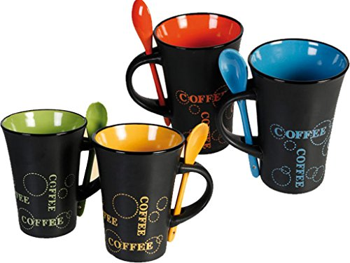 Keramik-Kaffeetassen mit Löffel von Fineway at Livio, 4er-Set, für Latte, Tee, Espresso