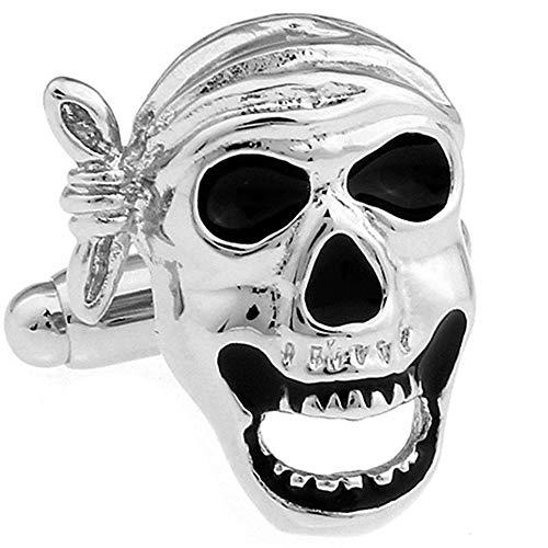 Modern Silent Wall Clock Manguitos de negocios para hombres Gemelos Accesorios (1 color) Mancuernas de metal para hombre, Pirate Skull Styling Black Epoxy Puños Puños, camisa para hombre Pantalones de