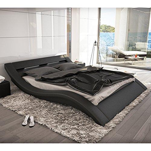 SalesFever Polster-Bett 180x200 cm schwarz aus Kunstleder mit LED-Beleuchtung | Kool | Das Kunstleder-Bett ist EIN Designer-Bett | Doppel-Betten 180 cm x 200 cm in Kunstleder, Made in EU