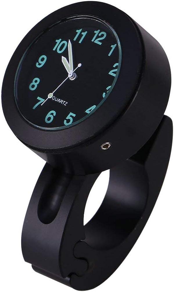 Nimoa Reloj de Pared de Manillar Modificado para Motocicleta, Reloj Luminoso Universal de 7/8
