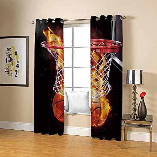 JFAFJ Home Pack 2 Cortinas con Visillo Amarillo y Baloncesto Paneles de la Cortina de para Cocina Modelo Vino para el Dormitorio Tamaño:280cmx175cm(An x Al)