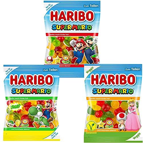 Haribo Super Mario - Special Limited Edition Fruchtgummi - 3 verschiedene Sorten - Sauer, Veggie und Original - 3 x 175g