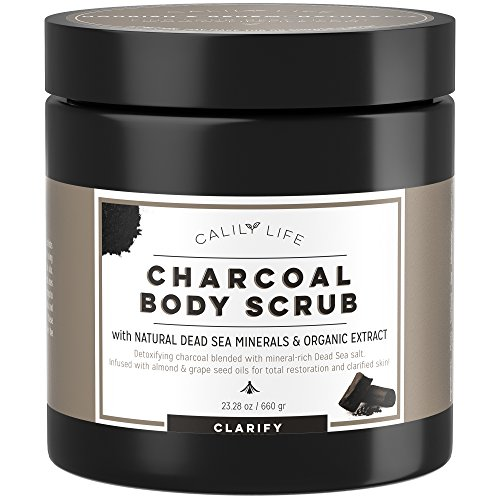 Calily Life Organic Deep Cleansing Activated Charcoal Body Scrub and Face Scrub with Dead Sea Minerals, 23 Oz.