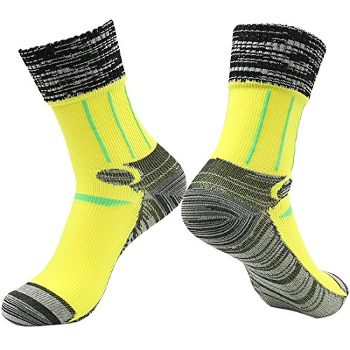 RANDY SUN Waterproof Hiking Snowmobiling Socks, Men's High Performance Sports Lifestyle Healthy Life Crew Cut Boot Wading Socks Yellow Black Grey M