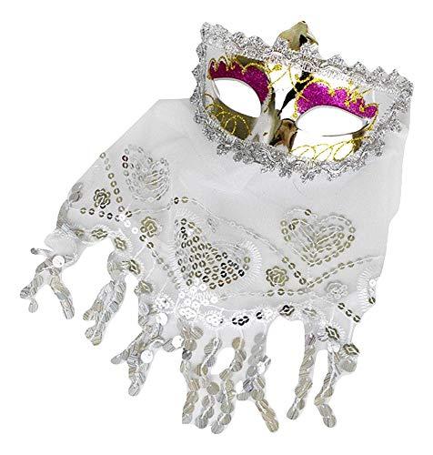 Lovelegis Máscara Veneciana - Mujer - Sexy - Plata - máscara - Carnaval - Venecia - Velo - Encaje - Idea de Regalo para cumpleaños