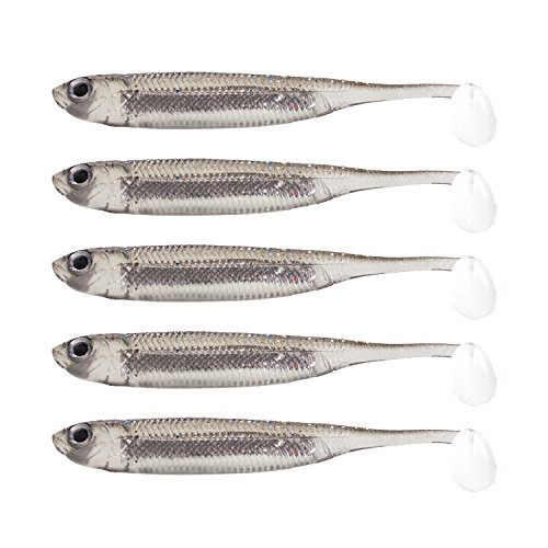 Fishcm Softbait Wiggle Shad Soft Plastic Swimbait Fishing Lure Smallmouth Bass Perch 3' Blue, Silver,Red (Silver) Pack of 5pcs