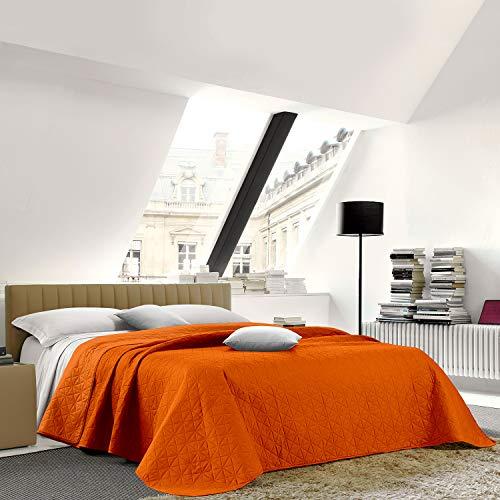 NuvolaNera Trapuntino copriletto bicolor trapuntato a caldo con colori brillanti – Primaverile Estivo – Piazza e mezza 220x250 cm Arancio/Arancio Chiaro