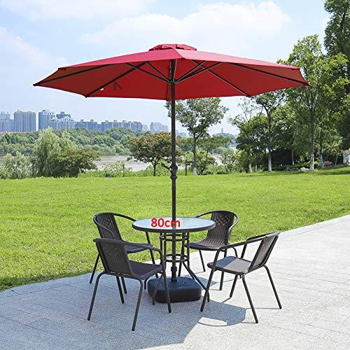 Casa/Mesa de jardín y sillas al aire libre Conjunto de plástico, silla de mesa de patio con parasol Mesa de centro de jardín con silla de silla de patio de 4/6 PC, 80 Round+4 Chairs+um 1