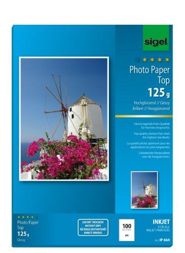 SIGEL IP664 InkJet Fotopapier Top, A4, 100 Blatt, hochglänzend, hochweiß, 125 g