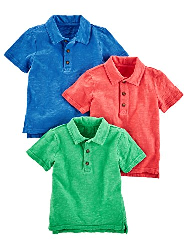 Simple Joys by Carter's Baby Boys' Toddler 3-Pack Short Sleeve Polo, Green, Blue, Red, 4T