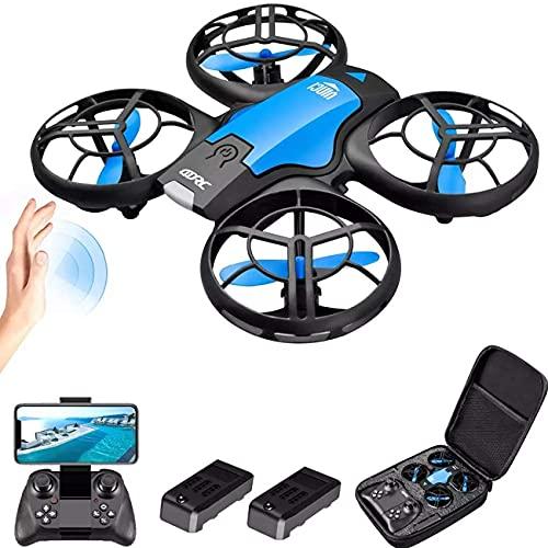 Drone, drone con fotocamera, mini drone quadricottero per bambini e principianti Aereo elicottero RC con volo in bilico automatico, vibrazione 3D, modalità senza testa e batterie extra Giocattoli pe