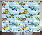 Royal Legacy Cortinas de avión, Aviones de Dibujos Animados y helicópteros en el Aire Entre Las Nubes Juguete de guardería, Cortinas de Ventana, Juego de 2 Paneles, Amarillo y Azul