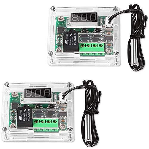 Greluma 2 Pezzi Modulo Regolatore di Temperatura con Custodia,Modulo Termostato Digitale con Display XH W1209 con Sonda NTC Impermeabile Modulo