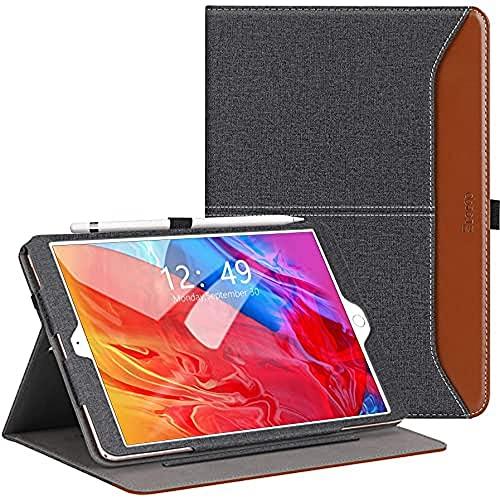 """ZtotopCase Custodia per iPad 10.2 (8a generazione/7a generazione), in pelle di alta qualità, con supporto, slot per schede, funzione sleep/wake per iPad 10.2"""" 2020/2019, Denim Nero"""
