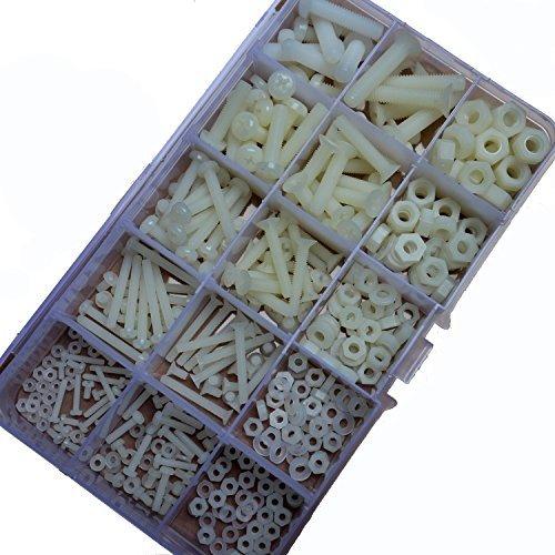 420-teiliges Sortiment mit Schrauben, Muttern und Dichtungsringen aus Nylon-Plastik, M2,M2,5,M3,M4,M5,M6