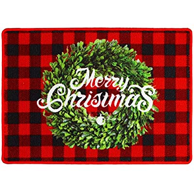 URATOT Christmas Boxwood Wreath Buffalo Plaid Doormats Anti-Slip Christmas Decorative Welcome Floor Mats for Indoor Outdoor Home Garden, 20 x 28 inches