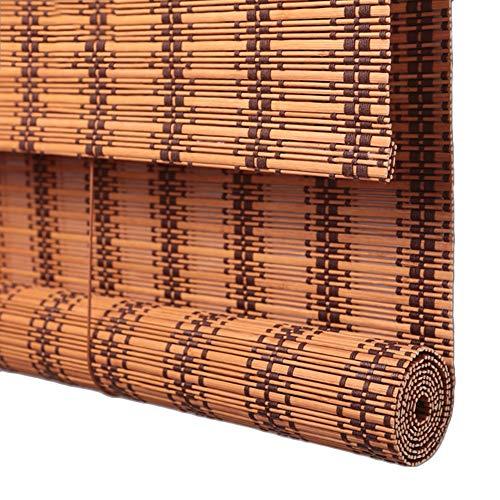JIAJUAN Persiana Estores De Bambú Enrollable Ventanas Listones Persianas Enrollables Romano Sombras Ciego Retro Filtro Solar Enrollar Ventana Cortina, Marrón Claro, Multi-tamaño