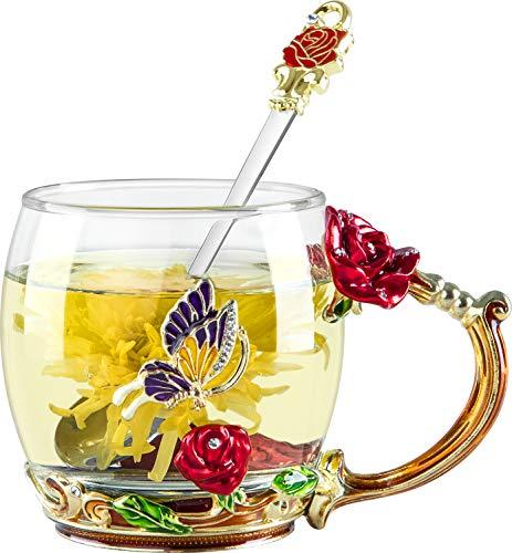 COAWG Taza de Té de Cristal Transparente, Taza de Té de Vidrio Rosa Roja Tazas de Cafe Tazas de Viaje con Manija Elaborada de la Flor y Hermosa 11oz-1Pc