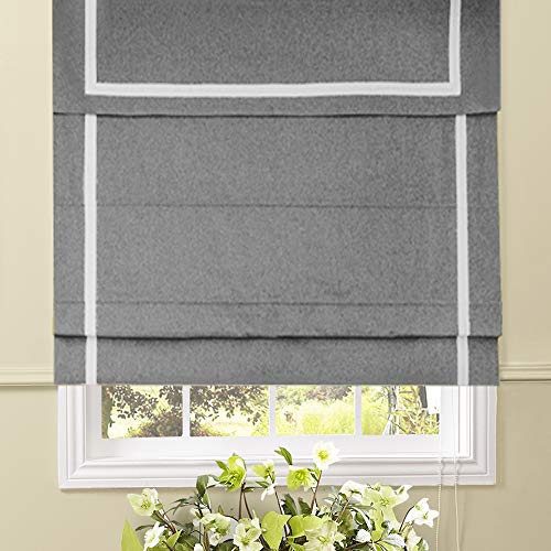 Doors Artdix Roman Shades Blinds Window Shades Kitchen Blackout Solid Thermal Fabric Custom Made Roman Shades for Windows 1 Piece Home White 52 W x 48L Inches Living Room