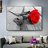 wZUN Moderna Flor de Rosa roja decoración del hogar Lienzo Pintura Carteles e Impresiones HD Flor Pared Arte imágenes para decoración de Sala de Estar 50X75 CM