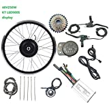 LiRongPing De Ruedas eléctrica conversión de la Bicicleta Kit 48V 250W traseras giran con Motor para KT LED900S Kit de visualización ebike,24inch LED Sets