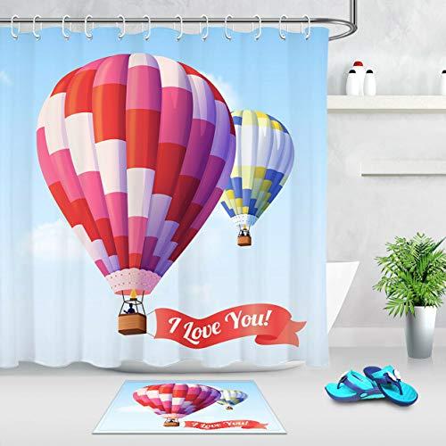 ZZ7379SL Coloridos Globos de Aire te Amo Juego de Cortina de Ducha de impresión Digital Tela Impermeable a Prueba de Moho (con Gancho)
