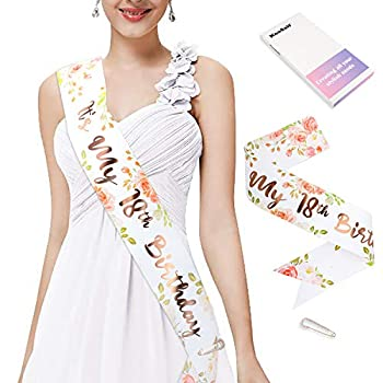 Konsait Glitter Rose Gold Paper its My 18th birthday Sash- 18 Fabulous Sash- Bday Accessories with Diamond Pin Finally Legal Birthday Gift Birthday Party Favors Party Supplies Decoration for Woman Girls