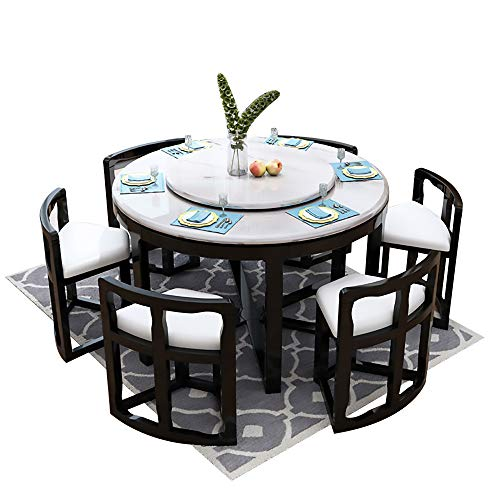 Mesa de Comedor, Mesa de Comedor de mármol y Juego de sillas Juego de 9 Piezas Mesa de Comedor Redonda con Mueble de Cocina Giratorio 130cm / 150cm,Negro,130cm Table 6 Chairs