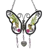 KAKA Store Grandma Butterfly Suncatcher Wind Chimes with Pressed Flower Wings Grandma Mother Day's Butterfly Home Garden Decoration Decor