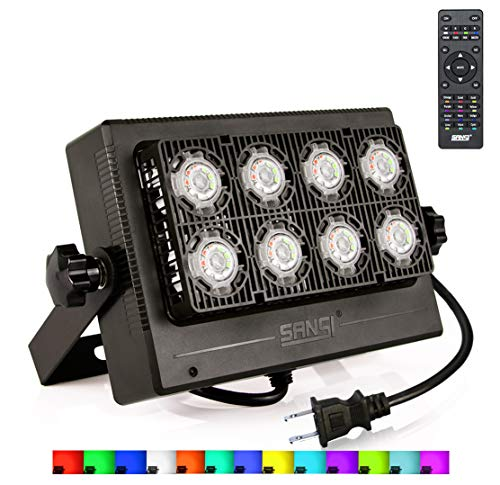 1st Generation RGB LED Flood Light Outdoor Color Changing Floodlight with Remote Control, IP65 Waterproof, 16 Colors 8 Modes, Dimmable Outdoor Flood Light Fixture, Stage Lights, Party Lights, SANSI