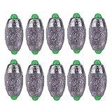 OLJF 10pcs 40g de Peso de Plomo de Pesca de Plomo Lastre Molde en Forma de Oliva Medio Pass extraíble Dividir plomadas perdigones de Plomo de los trastos Kits