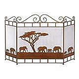 DGHJK Fireplace Screens Home Fireplace Screen Cover 3 Panel, Massives Schmiedeeisen Funkenschutzgitter, Schutzgitter für Holzofen/Offenes Feuer, 121 x 80 cm (Farbe : Braun)